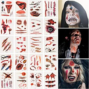 Win A Free TITE 30 Sheets Halloween Tattoos Sticker Scar Wound Bloody...