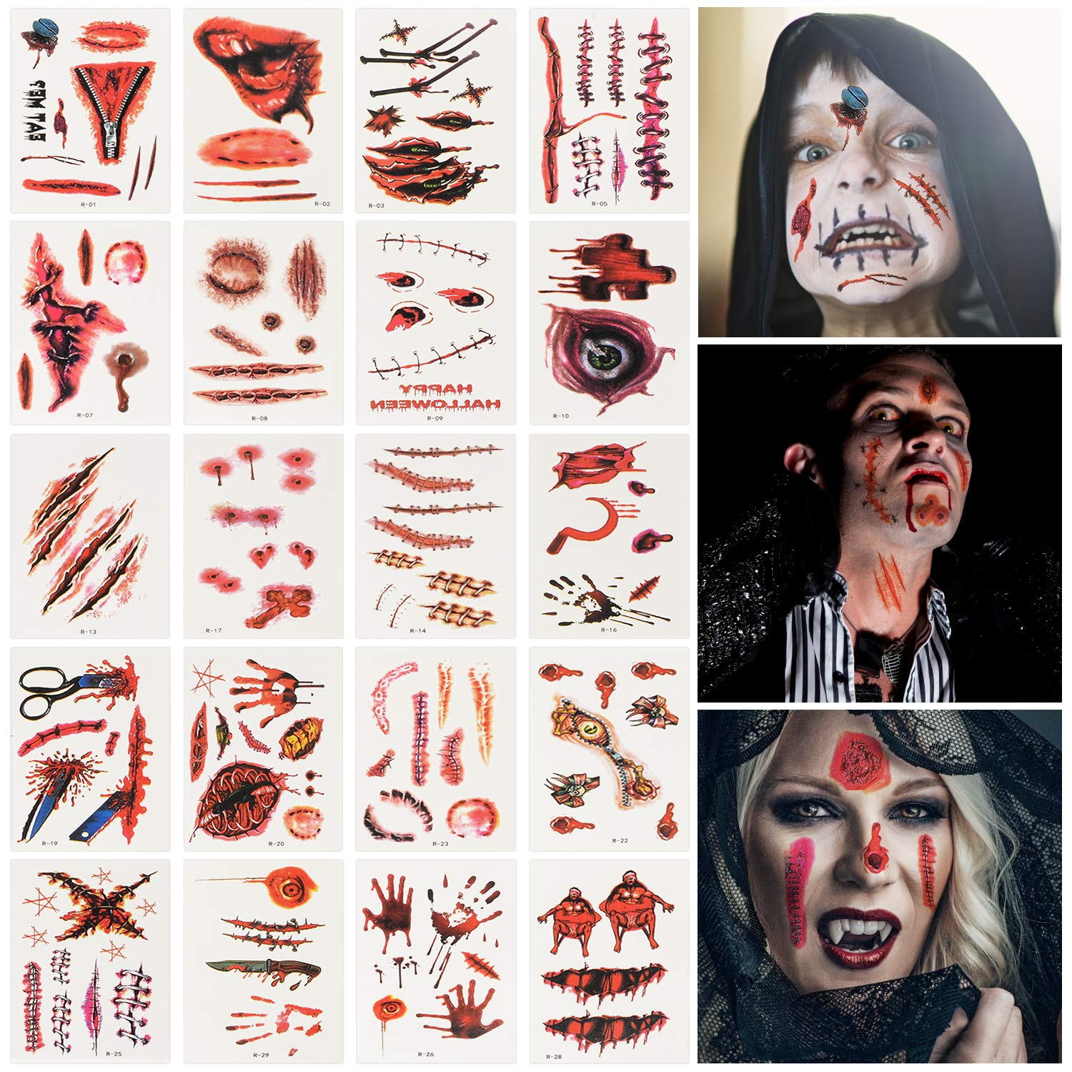 TITE 30 Sheets Halloween Tattoos Sticker Scar Wound Bloody Horror Props Temporary Stickers Party Cosplay Prank Masquerade