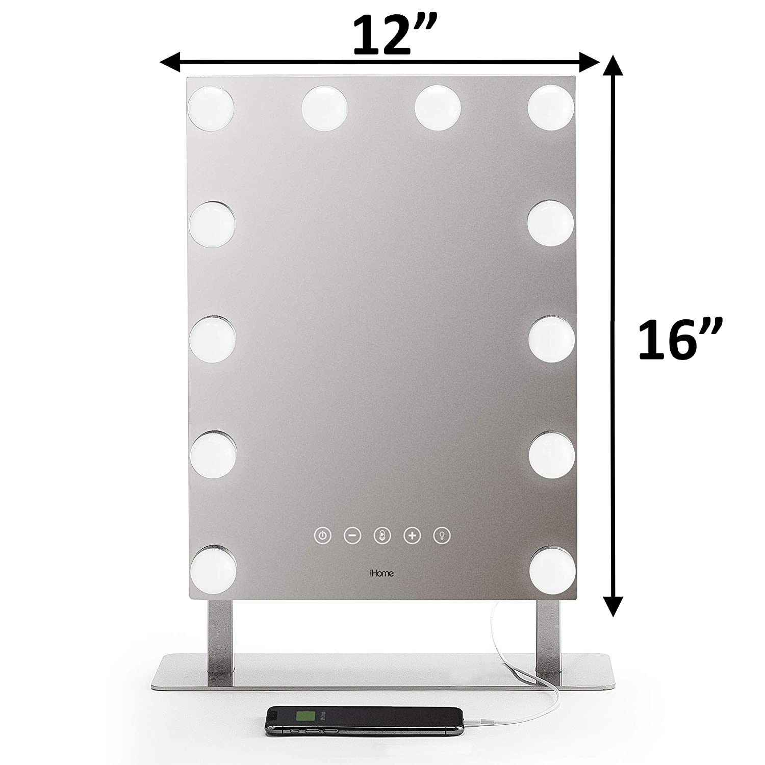iHome Hollywood PRO Vanity Mirror 12 X 16 , Vanity Stereo Speaker with Bluetooth, Speakerphone, USB Charging and Magnetic Removable 10X Detail Mirror, Hollywood Mirror with 3 Light Modes iCVBT15