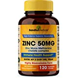 Zinc 50mg Supplement 120 Vegetarian Capsules, Zinc Highly Absorbable Supplements for Immune Support System, Gluten Free Zinc