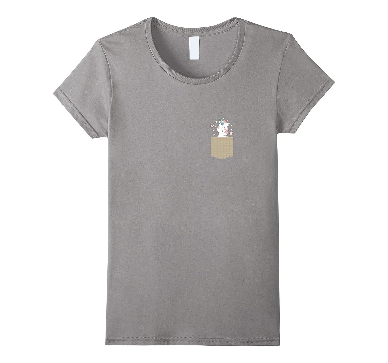 Funny Unicorn Peek Out Of Pocket Pet Animal Lover T-Shirt