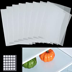 8 Pieces Refrigerator Mats Washable Fridge Mats Shelf Mats Refrigerator Liners Waterproof with Acrylic Double-Sided Adhesive Dot Sticker for Drawer Table Kitchen Cupboard, 17.7 x 11.8 Inch