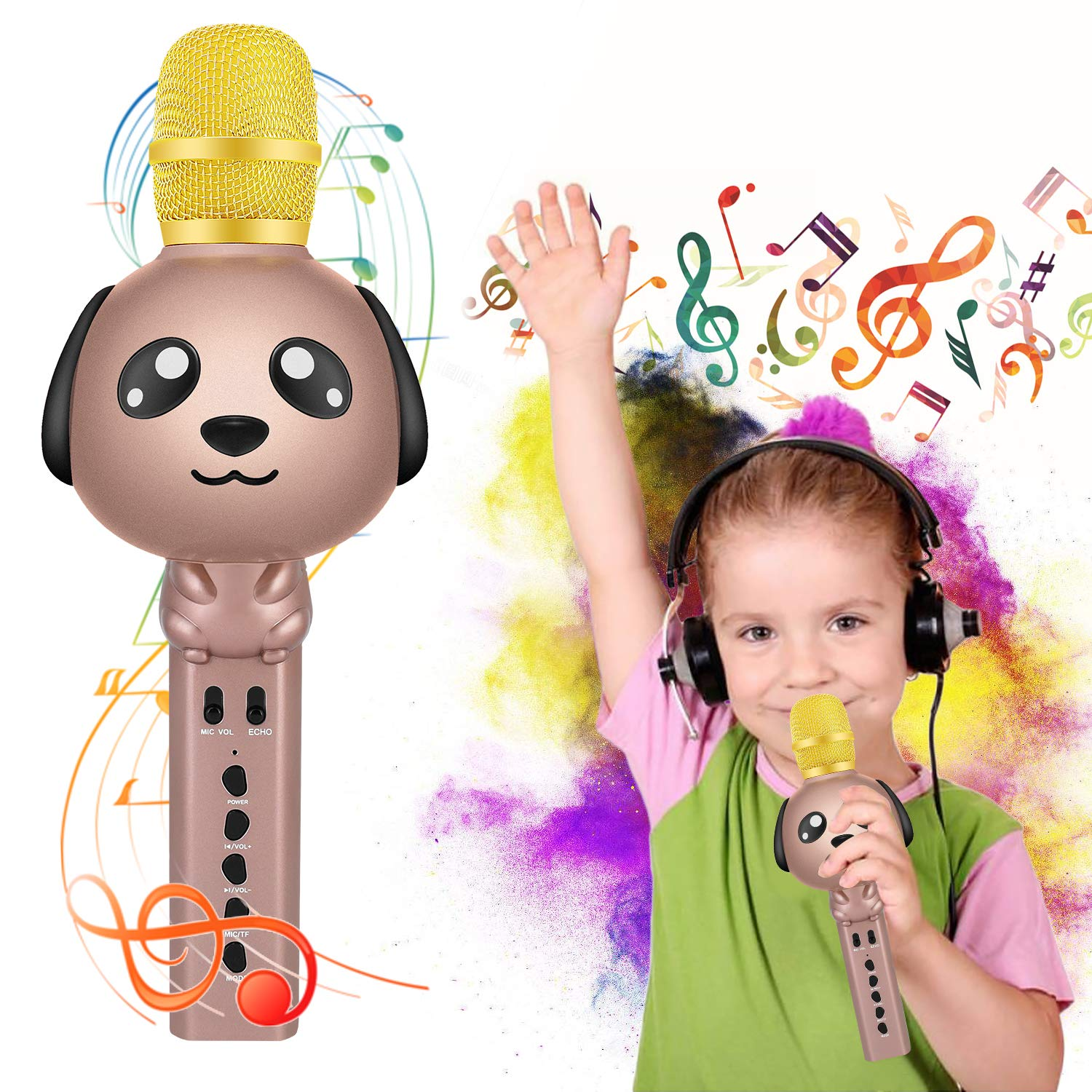Seelinn Microphone for Kids Karaoke Microphone Bluetooth Wireless Microphone Portable Handheld Karaoke Machine Toys Gifts Singing Recording Home KTV Party iPhone Android PC Smartphone (Rose Glod)
