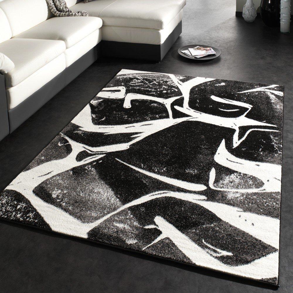 Teppich grau schwarz  Designer Teppich Modern Trendiger Kurzflor Teppich in Grau Schwarz ...