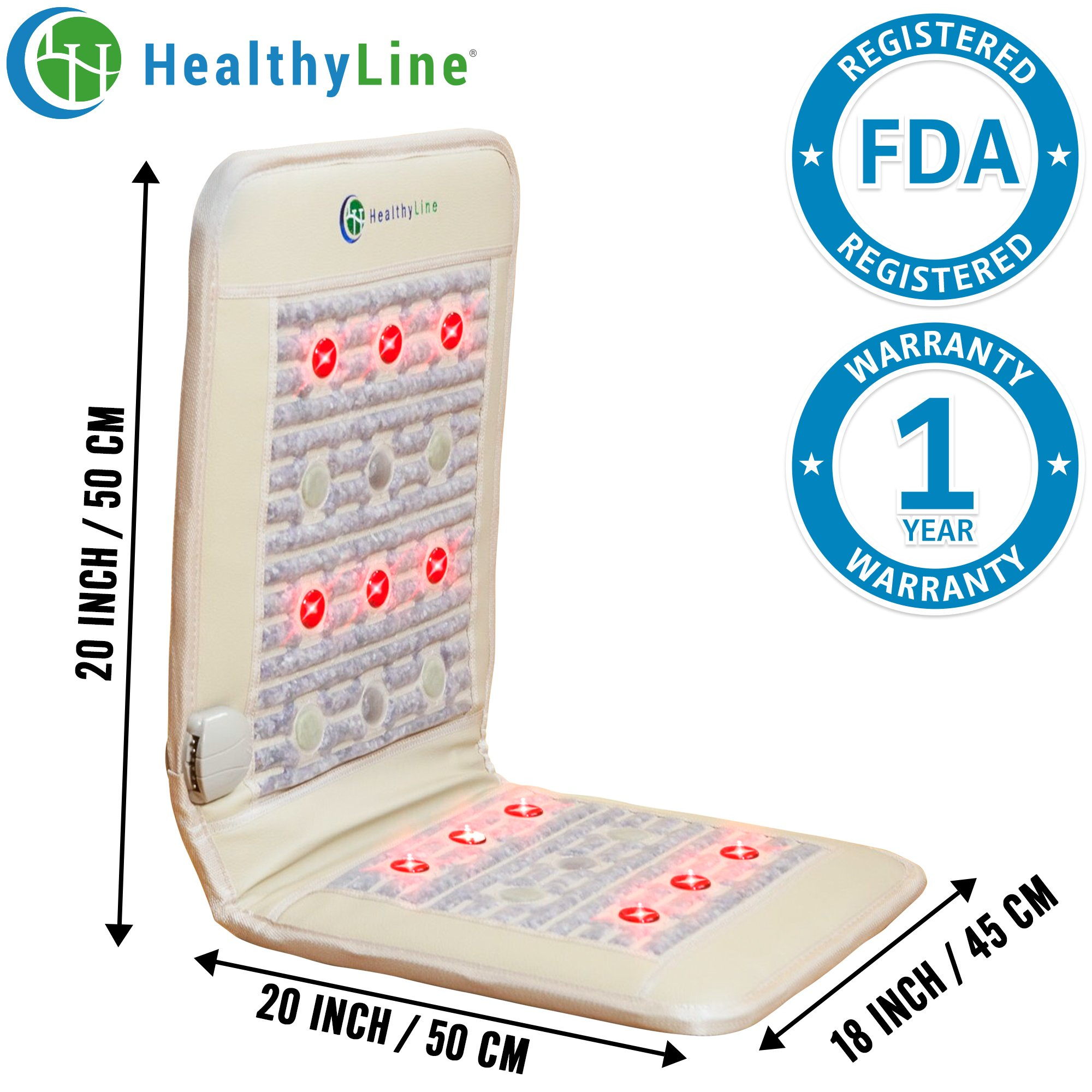 HealthyLine Infrared Heating Pad (Firm)|2 PEMF Coils, 12 Photon LEDs, Natural Amethyst, Jade & Tourmaline Ceramic (Medium) 40″ x 18″ |Relieve Pain, Sore Muscles, Arthritis and Injury Recovery