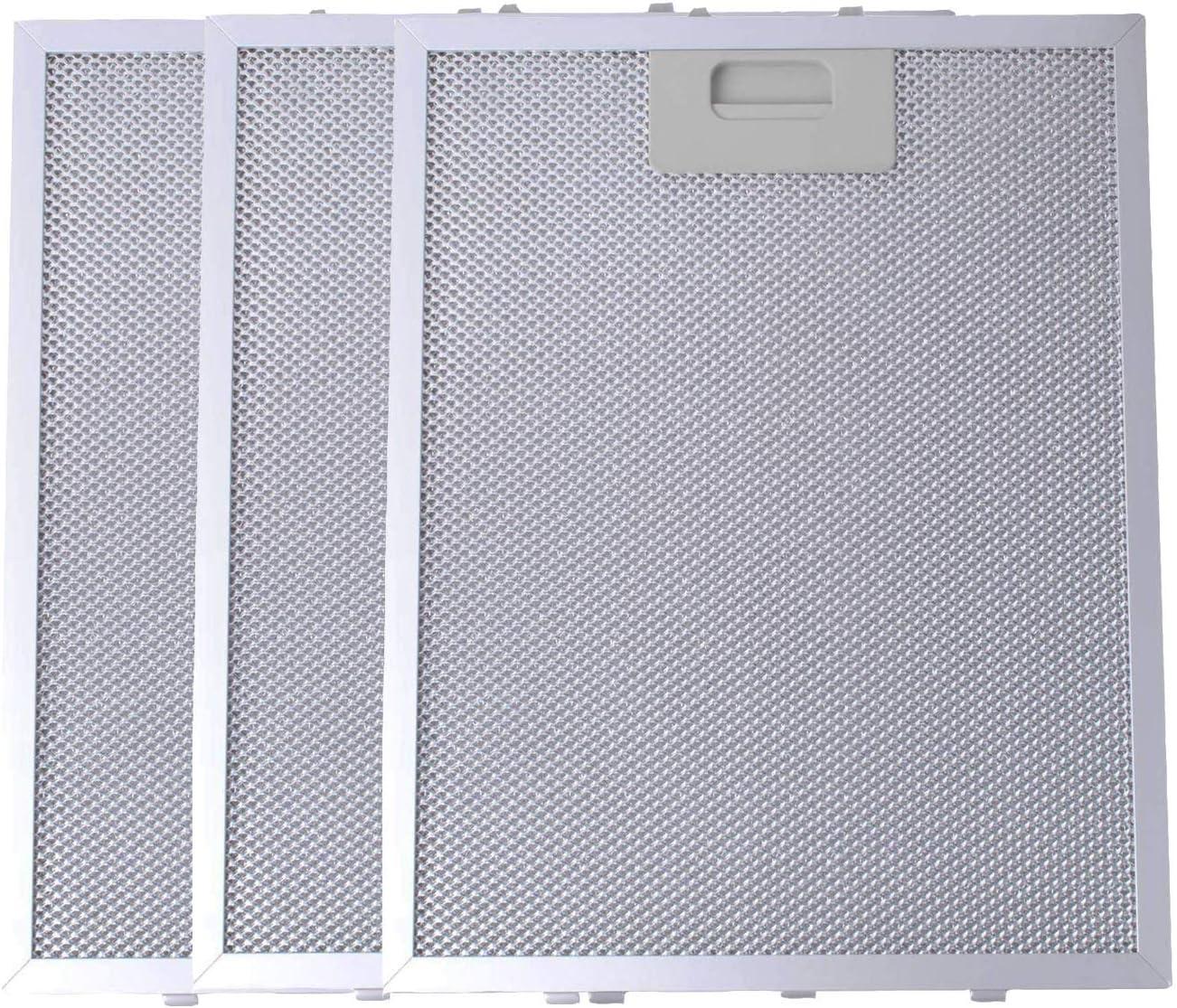 Filtro de Grasa Universal para Campana Extractora de Cocina por Poweka (Plata, 320 x 260 mm, 3 Piezas)