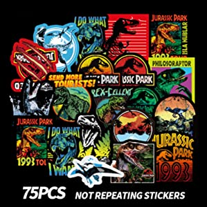 Jurassic Dinosaur Tyrannosaurus Rex Stickers 75pcs Cool Dinosaur Decals for Laptop,Cars,Motorcycle,Bicycle,Luggage,Graffiti,Skateboard Stickers Hippie Waterproof for Kids Adult Wall Decor