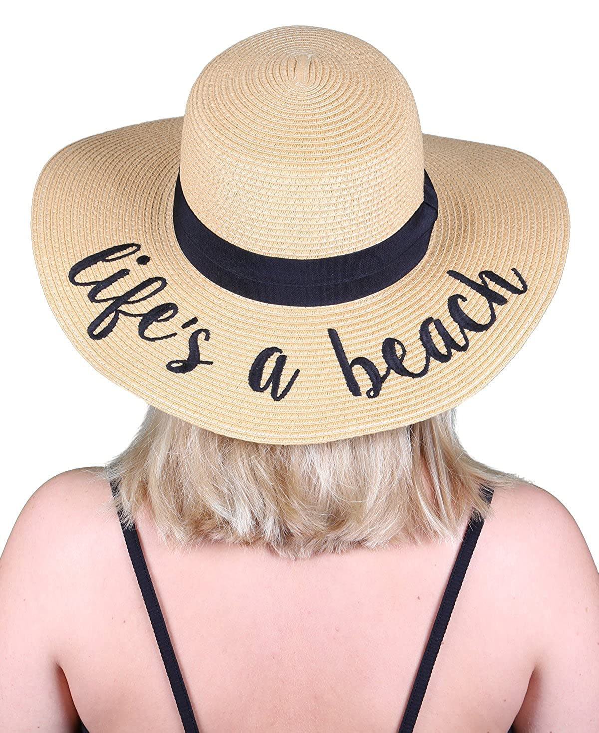 Life's a Beach Funky Junque Women's Bold Cursive Embroidered Adjustable Beach Floppy Sun Hat