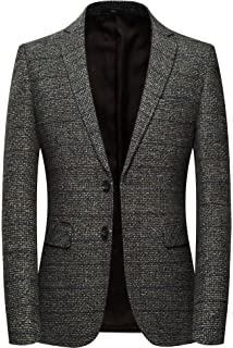 Flatseven Mens Herringbone Wool Blazer Jacket With Elbow Patches At