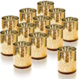 Homemory Set of 12 Votive Candle Holders Bulk, Gold Tealight Candle Holder, Mercury Glass Candle Holder for Restaurant…