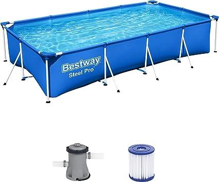 Bestway Steel ProPool Set Juego de Piscinas con Marco de Acero con Bomba de Filtro, Azul, 400 x 211 x 81 cm: Amazon.es: Juguetes y juegos