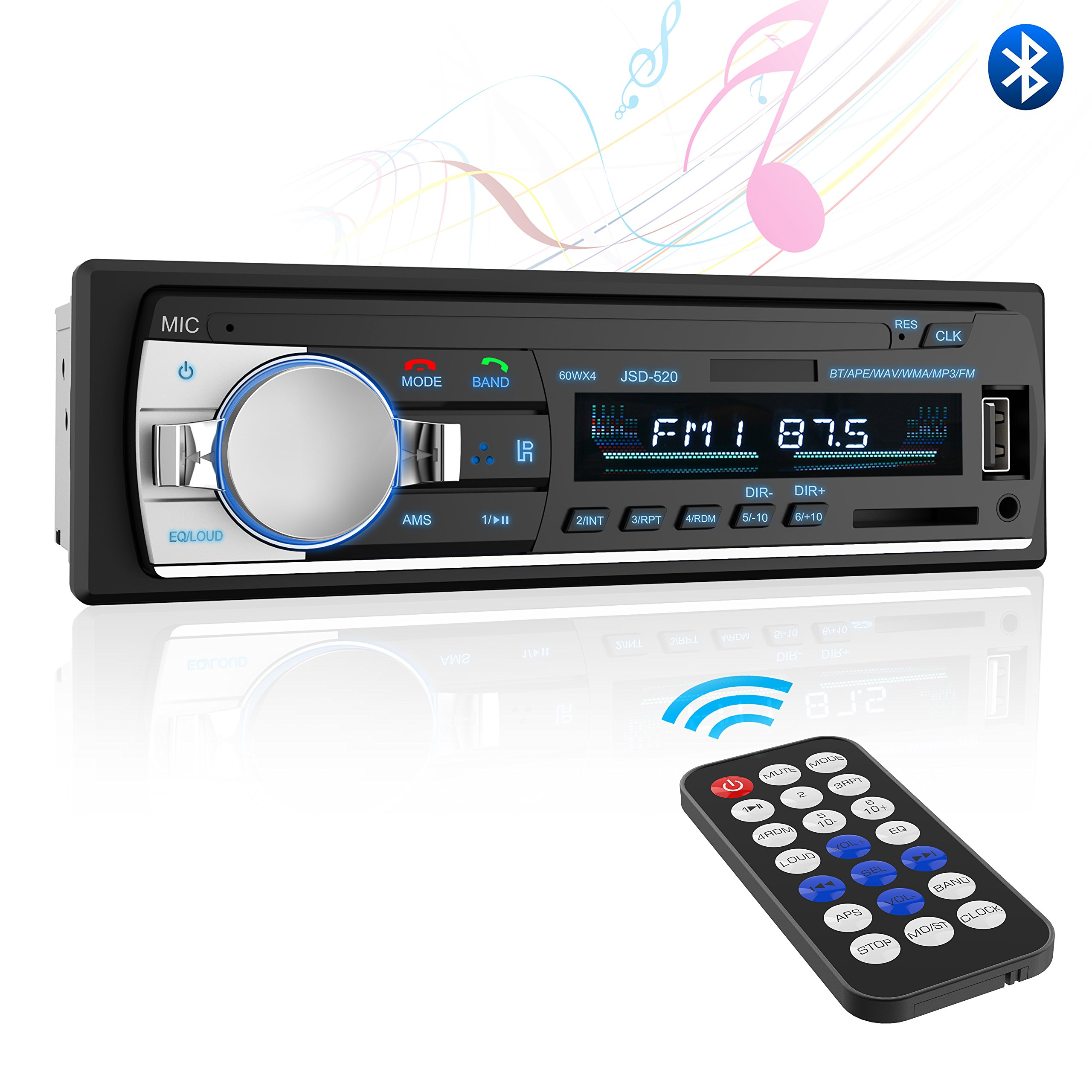Bluetooth Car Stereo Reeiver,Valoin Universal Single Din Car Radio Receiver with FM Radio,Compact Car Audio Stereo with Remote Control Support MP3 Playback/USB/SD Card