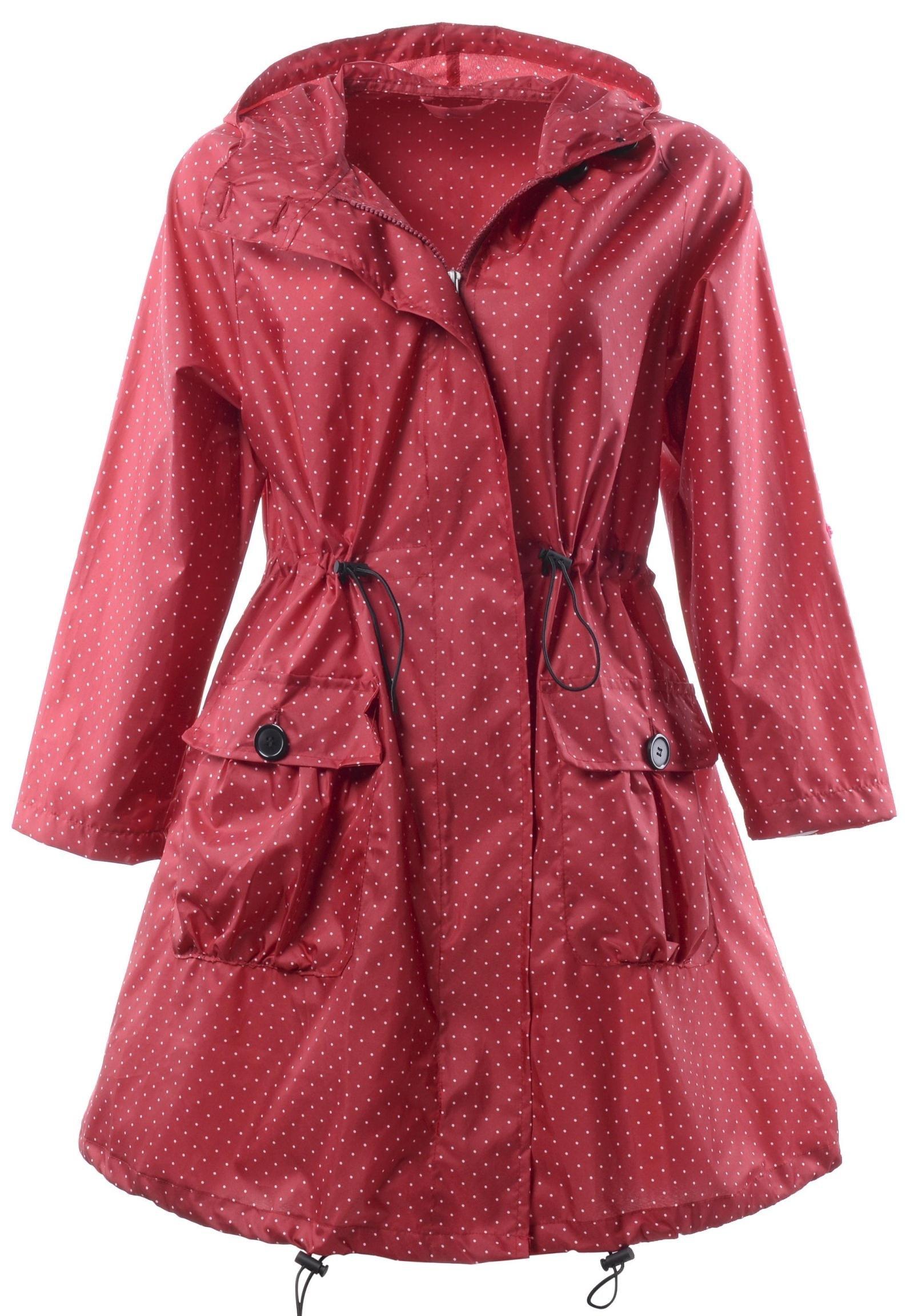 QZUnique Women's Packable Waterproof Rain Jacket Outdoor Poncho Raincoat with Hood Red