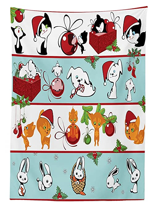 Quando Si Aprono I Regali Di Natale.Decorazioni Di Natale Tovaglia Gattini Cuccioli E Coniglietti Con