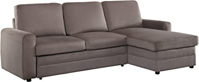 Homelegance Welty Sectional Sofa with Reversible Chaise and Pull-Out Bed, Fossil