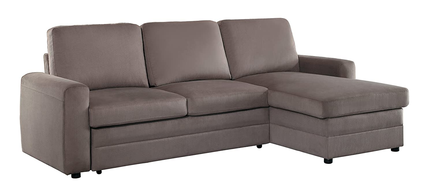 Homelegance Welty Sectional Sofa with Reversible Chaise and Pull-Out Bed - Fossil