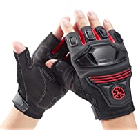 BaronHong Breathable Shockproof Wear Resistant Finger-less Cycling Gloves for Summer(red,XL)