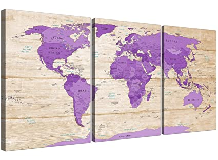 Grande viola crema mappa del mondo Atlas stampa artistica da parete ...