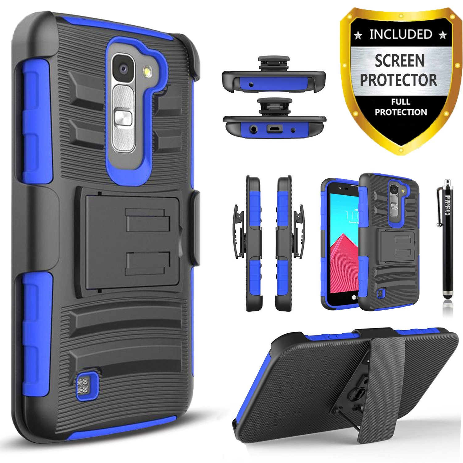 LG K7 Case, LG Treasure LTE Case, LG K8 Case, LG Tribute 5 Case, LG Escape 3 Case, LG Phoenix 2 Case, Circlemalls Combo Rugged Holster Phone Cover with [HD Screen Protector] and Stylus Pen - Blue