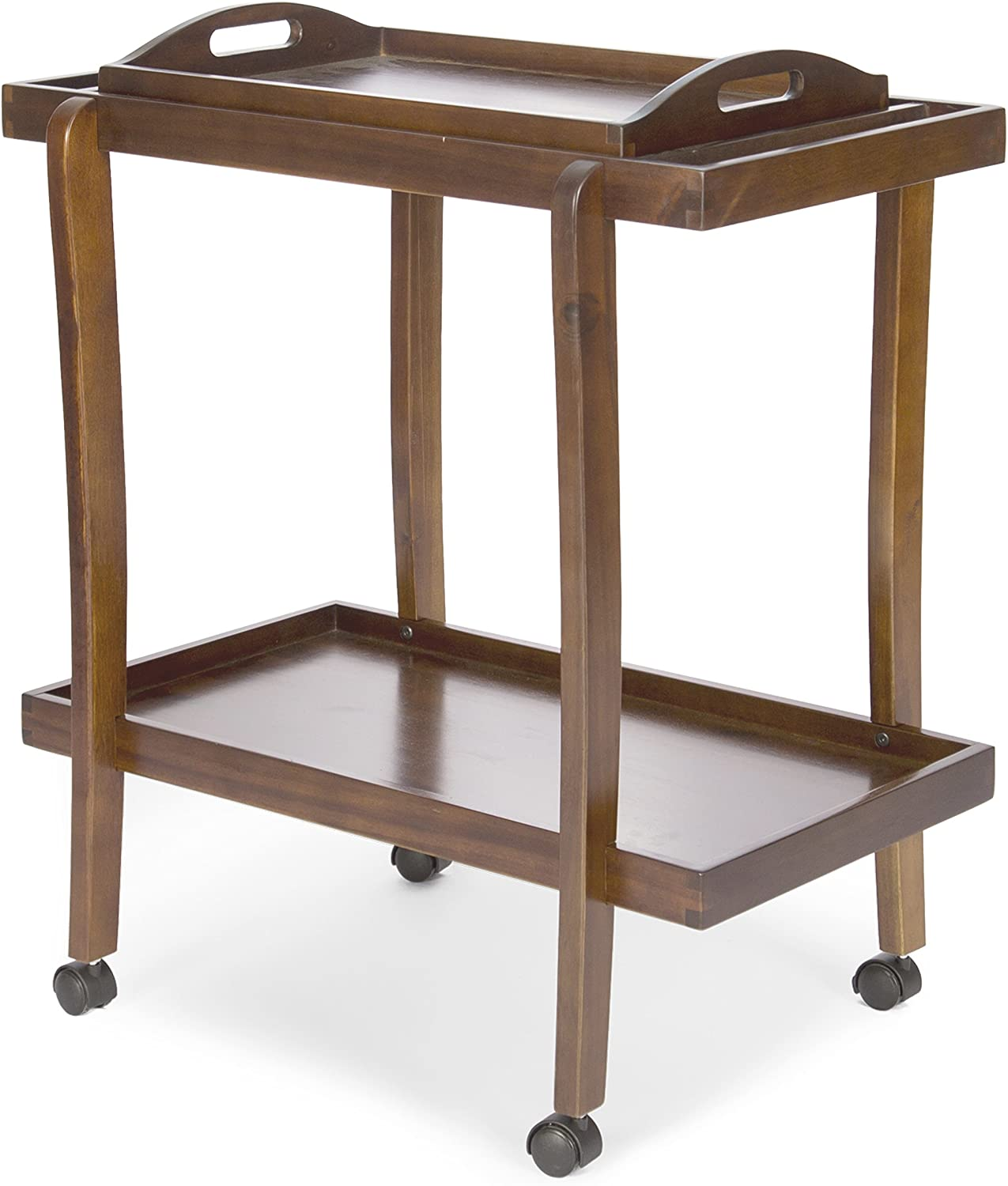 Christopher Knight Home Preslie Acacia Wood Bar Cart with Removable Top Tray, Dark Oak