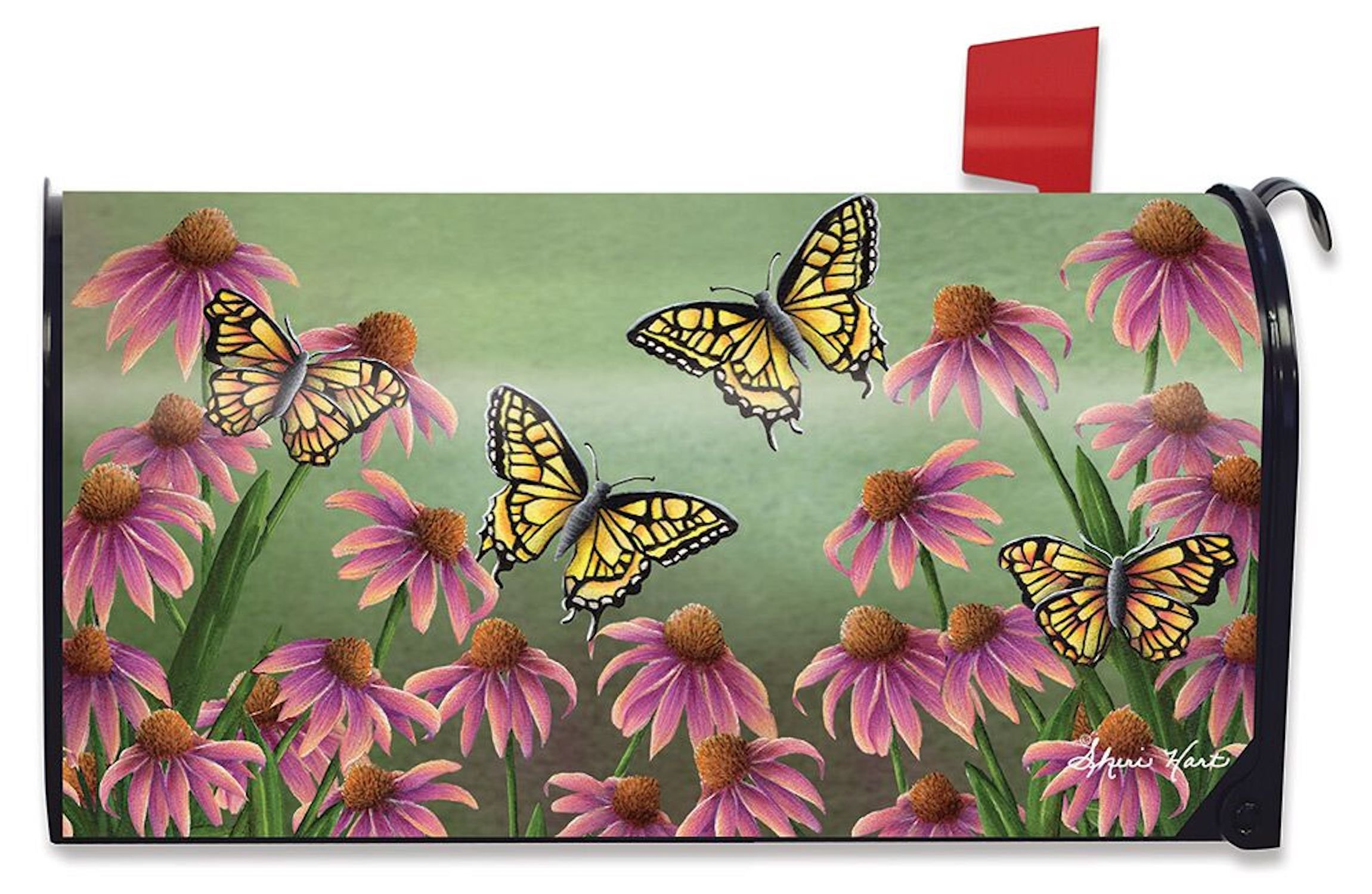 Briarwood Lane Echinacea Butterfly Spring Mailbox Cover Monarch Butterflies Floral Standard by Briarwood Lane