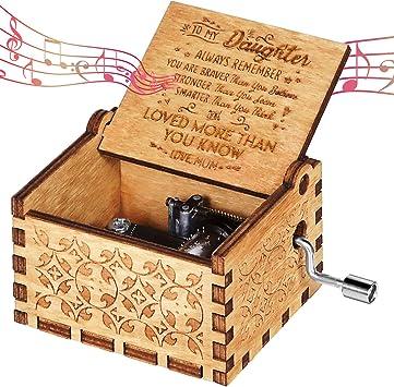 OMZGXGOD Caja de música de Madera manivela, Caja de Música de ...