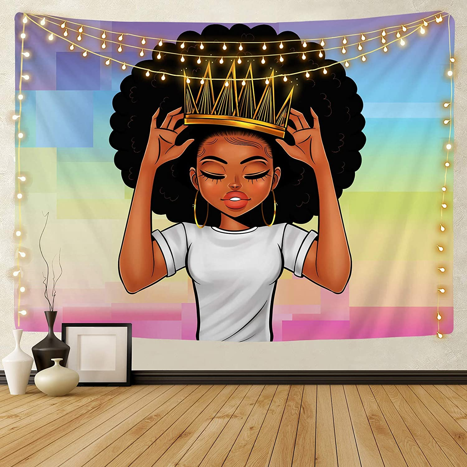 KOYI Black Girl Magic Tapestry African American Women Girl with Crown Wall Tapestry Afro Girls Black Queen Princess Wall Hanging Wall Art 51.2ʺ L × 59.1ʺ W Inches for Bedroom Living Room Dorm Room