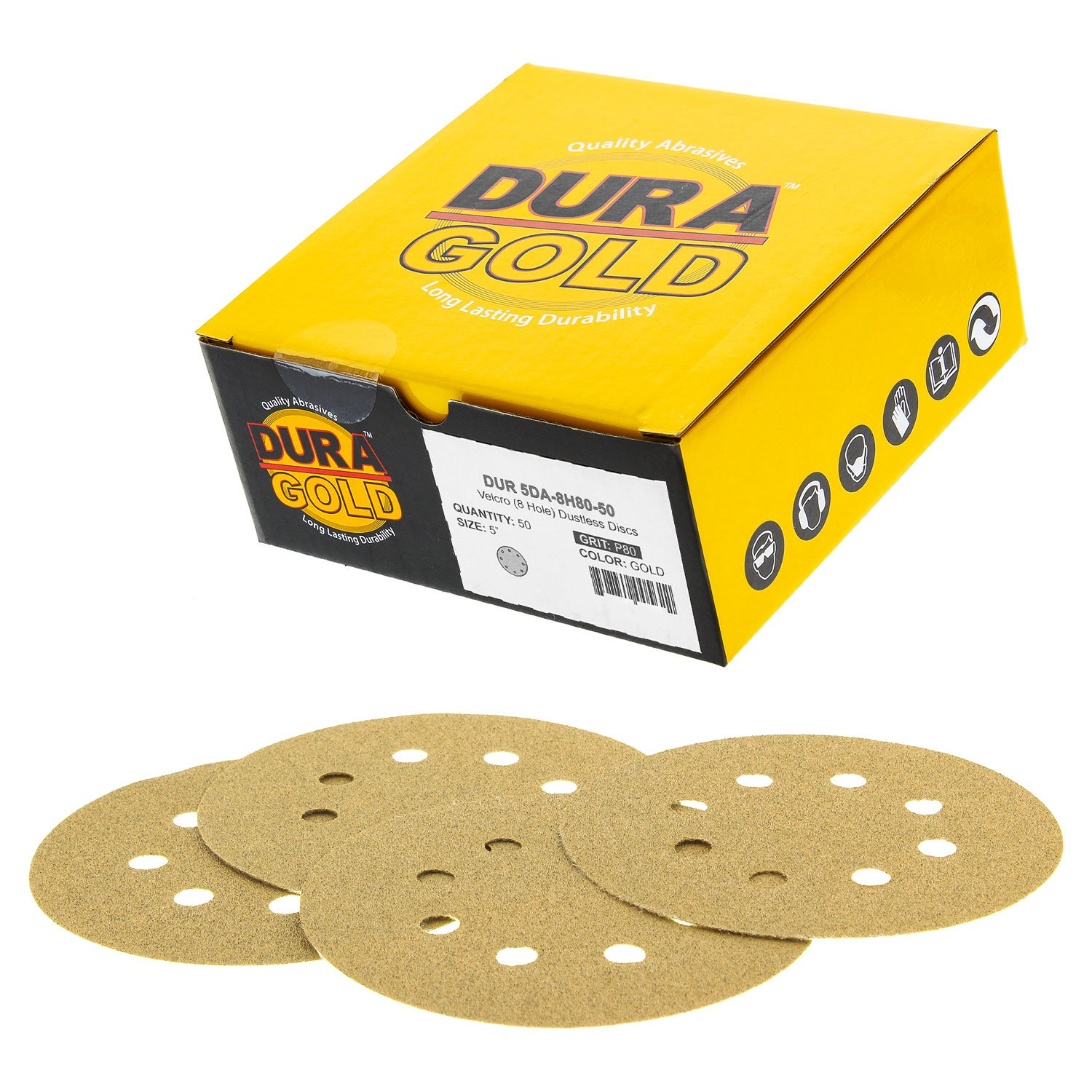 3000 Grit Premium Box of 50 Finishing Sandpaper Discs for Woodworking or Automotive 8-Hole Dustless Hook and Loop for DA Sander 5 Green Film Sanding Discs Dura-Gold