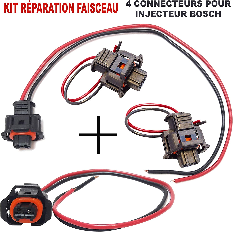 Lot de 4 Kit de R/éparation INJECTEUR C/âble Faisceau de C/âblage Fiche /Électrique Prise de Connectique Connecteur Plug Adaptateur dInjecteur Bosch 2 fils 2 Broches pour Injection Bosch
