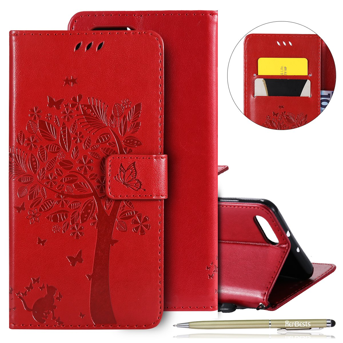 Coque Huawei Honor View 10, Etui Housse de Protection pour Huawei Honor V10, Herbests Pochette Huawei Honor View 10 Coque à Rabat Magnétique Housse en Cuir Etui de Protection avec Motif en Relief de Chat Ultra Slim Mince Anti Choc Leather Pu Case avec Drag
