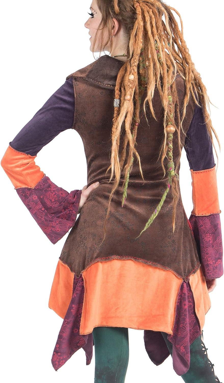 woodland fairy jacket hippy festival psy trance clothing pixie jacket asymmetrical bohemian coat VELVET PATCHWORK JACKET