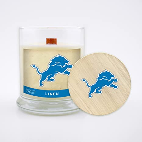 cb98e147 Worthy Promo NFL Detroit Lions Linen Scented Soy Wax Candle, Wood Wick and  Lid, 8 oz