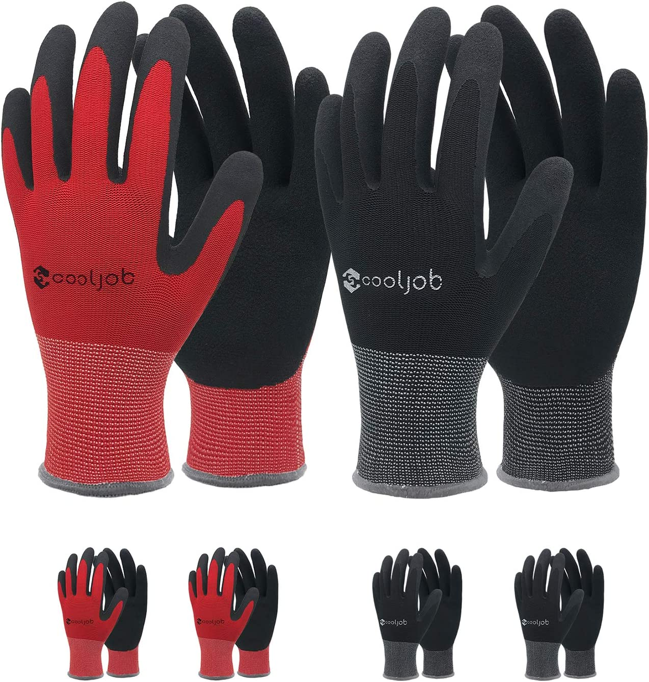 COOLJOB Gardening Gloves for Men, 6 Pairs Breathable Rubber Coated Garden Gloves, Work Gloves for Men, Men's Large Size Fits Most, Black & Red (Half Dozen L)