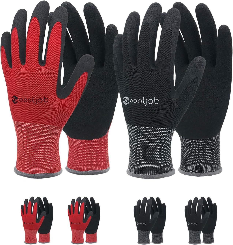 COOLJOB Gardening Gloves for Men, 6 Pairs Breathable Rubber Coated Garden Gloves, Work Gloves for Men, Men's Large Size Fits Most, Black & Red (Half Dozen L)