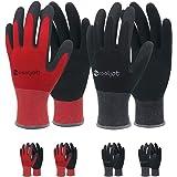 COOLJOB Gardening Gloves for Men, 6 Pairs Breathable Rubber Coated Garden Gloves, Work Gloves for Men, Men's Large Size Fits