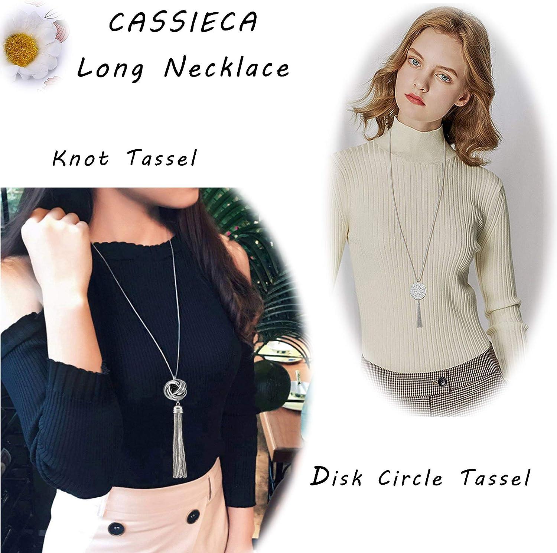 CASSIECA 2 PCS Long Colliers Femme avec Pendentif Noeud Disque Cercle Tassel Y Colliers Tendance Bijou Cha/îne de Chandail Accessoires de V/êtements