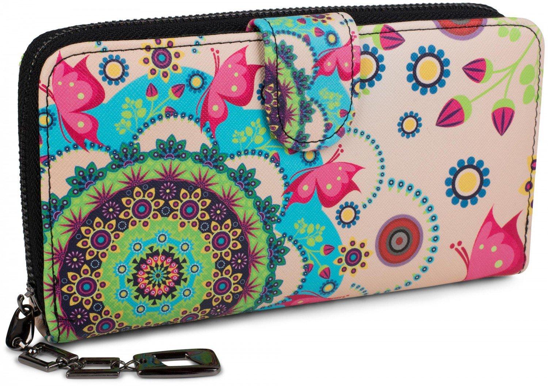 women 02040040 circumferential zipper vintage design color:Beige-Brown-Dark Brown-Pink styleBREAKER purse with different ethno flower prints