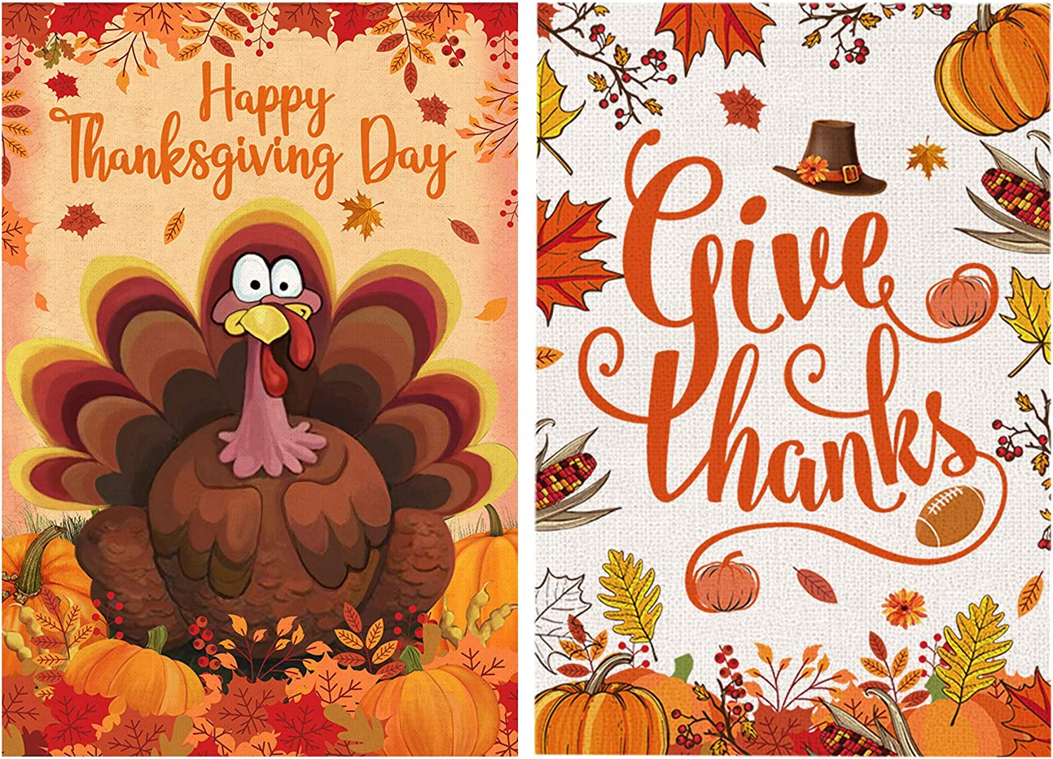 Bonsai Tree 2 Pack Thanksgiving Garden Flag, Double Sided Give Thanks Burlap House Flags 12x18 Prime, Funny Turkey Fall Pumpkins Leaves Welcome Yard Signs Banners Farmhouse Home Outdoor Decorations