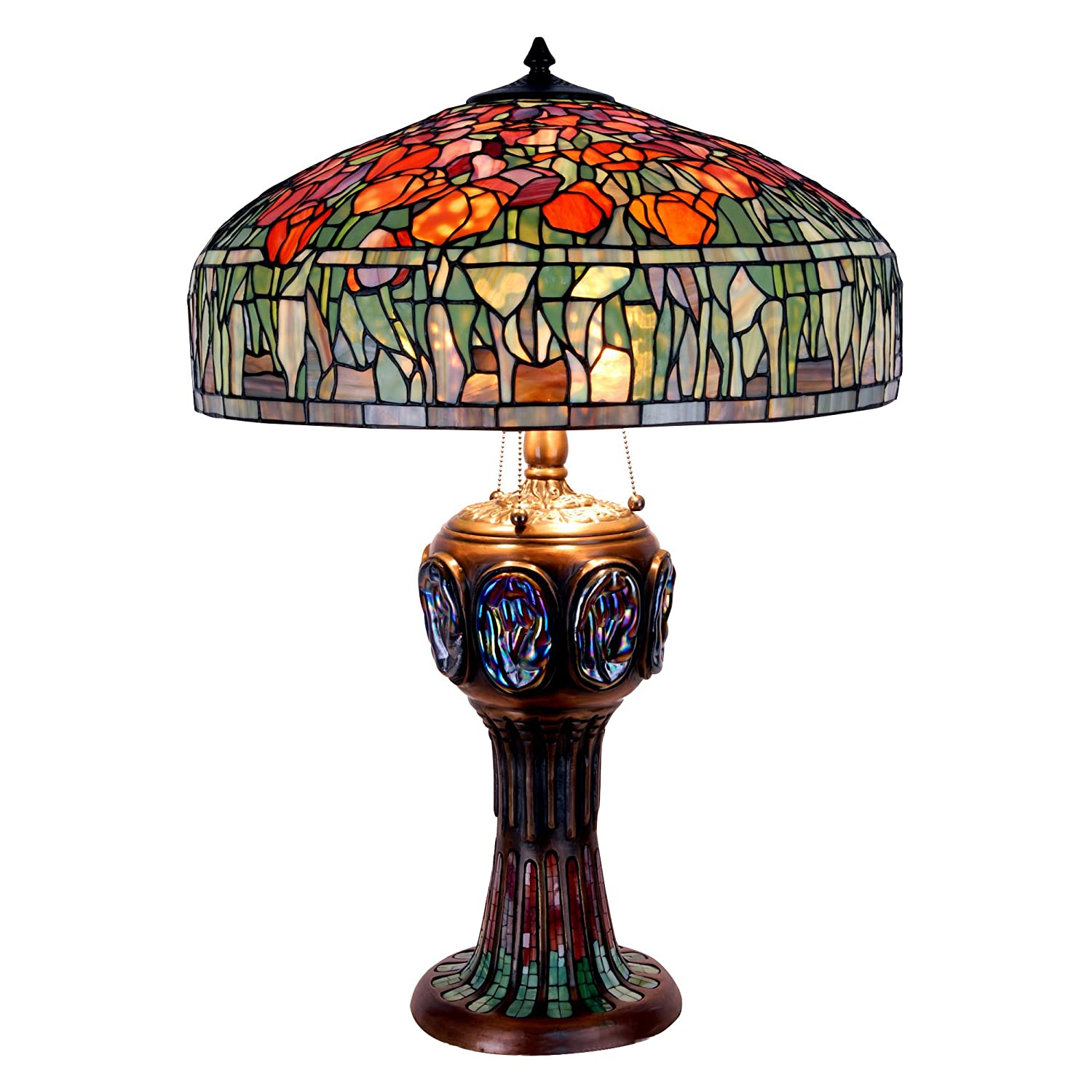 """Cloud Mountain 33"""" Height Luxury Tiffany Style Tulip Table Lamp with"""