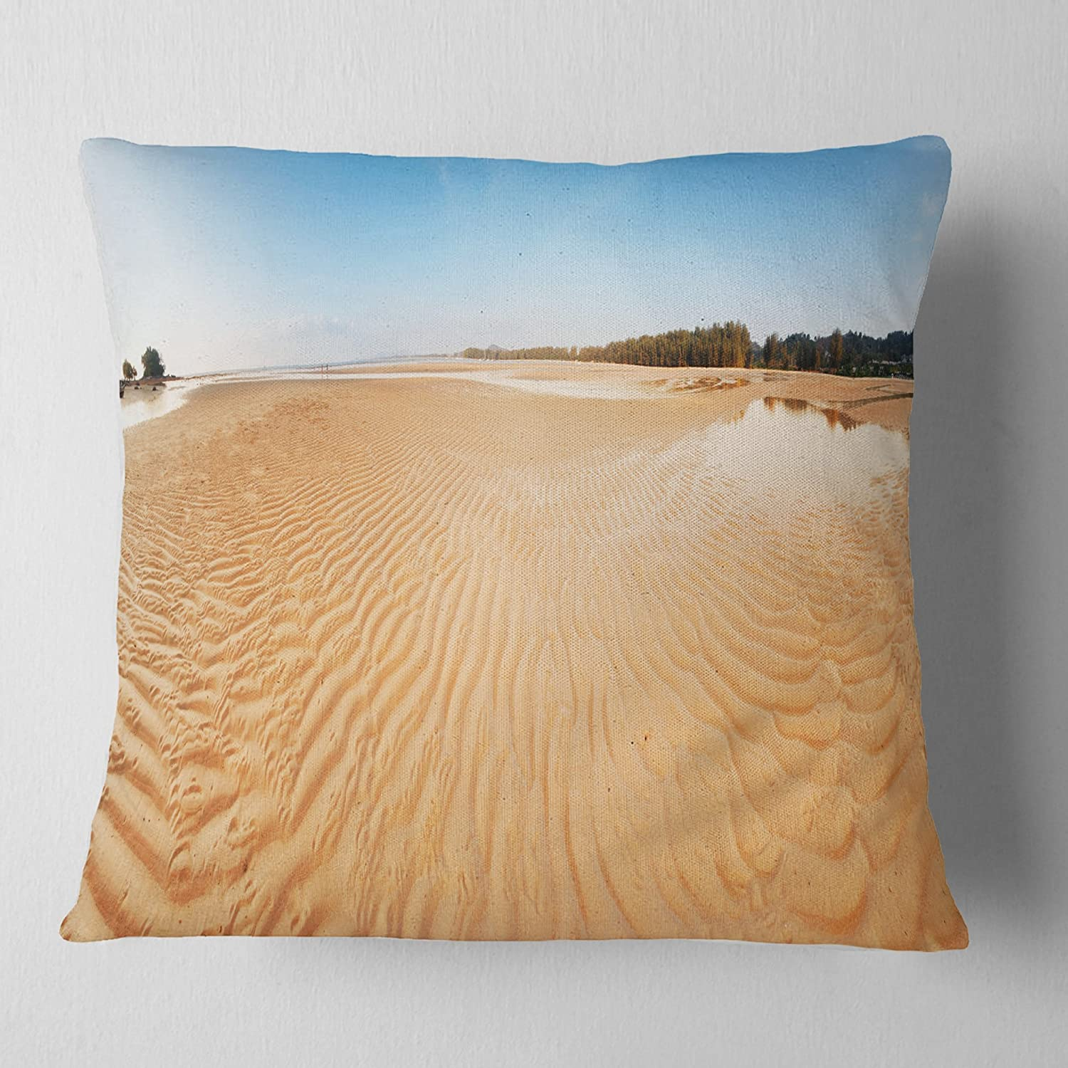 Sofa Throw Pillow 18 in Designart CU11491-18-18 Exotic Tropical Beach Panorama Modern Seascape Cushion Cover for Living Room in x 18 in