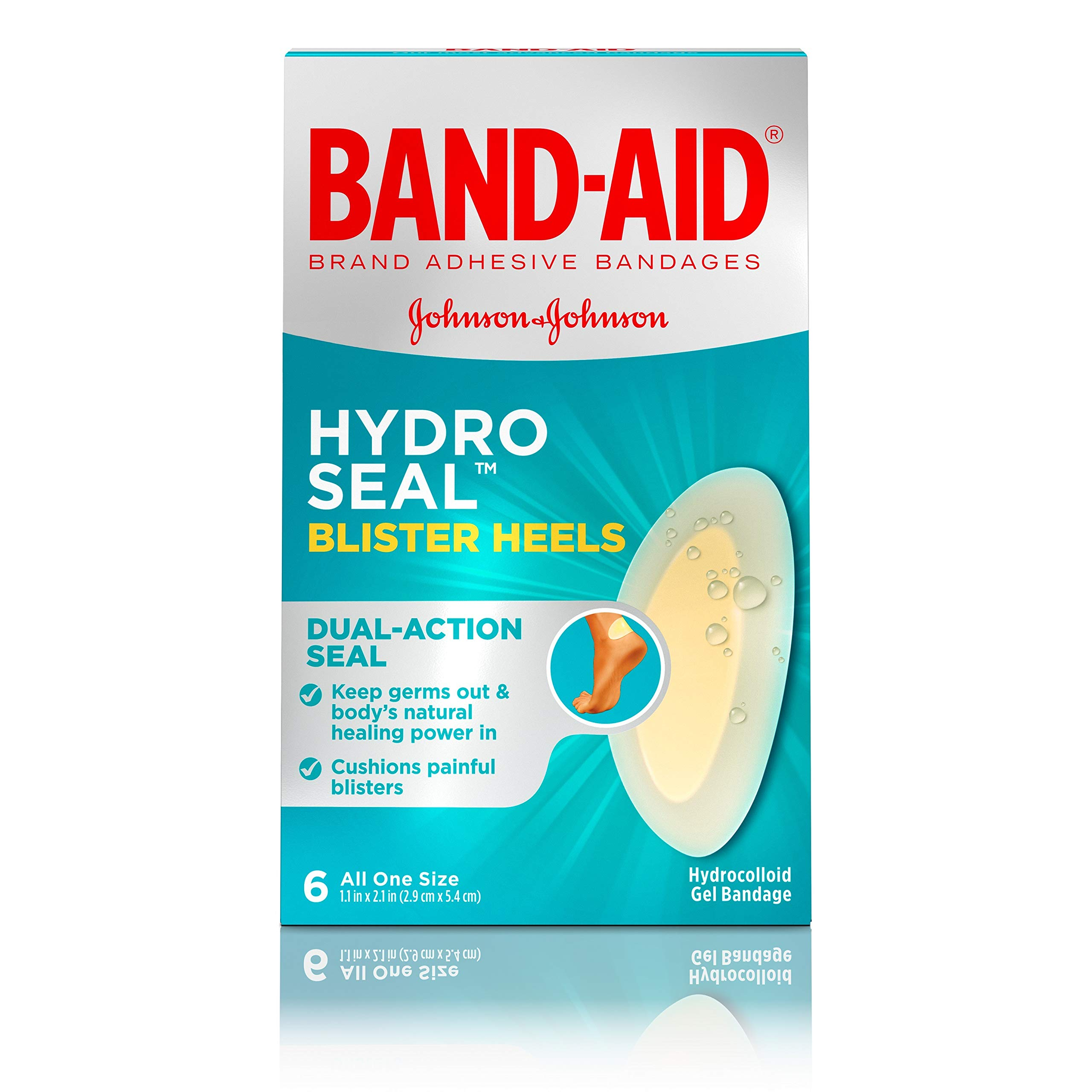Band-Aid Brand Hydro Seal Adhesive Bandages for Heel Blisters, Waterproof Blister Pads, 6 ct