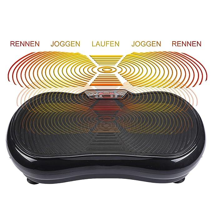 Merax Vibrationsplatte Vibrationstrainer Profi 2D Wipp Vibration Bluetooth Musik inkl Lautsprecher Extra Gro/ße Fl/äche//Kraftvoller Motor//Trainingsb/ände//Fernbedienung im Fitnessger/ät