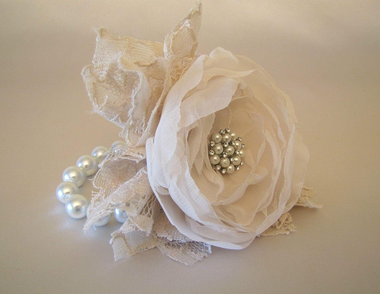 Vintage Pearl /& Diamante Corsage Flower Bracelet Wedding Prom