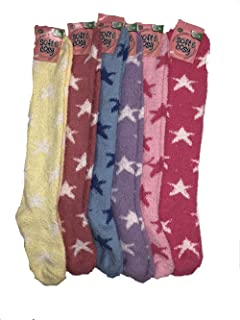 Soft /& Cosy 6 or 12 Pairs of Womens Knee high Soft Fuzzy and Striped Marijuana Colorful Weed Socks Star 6 Pack