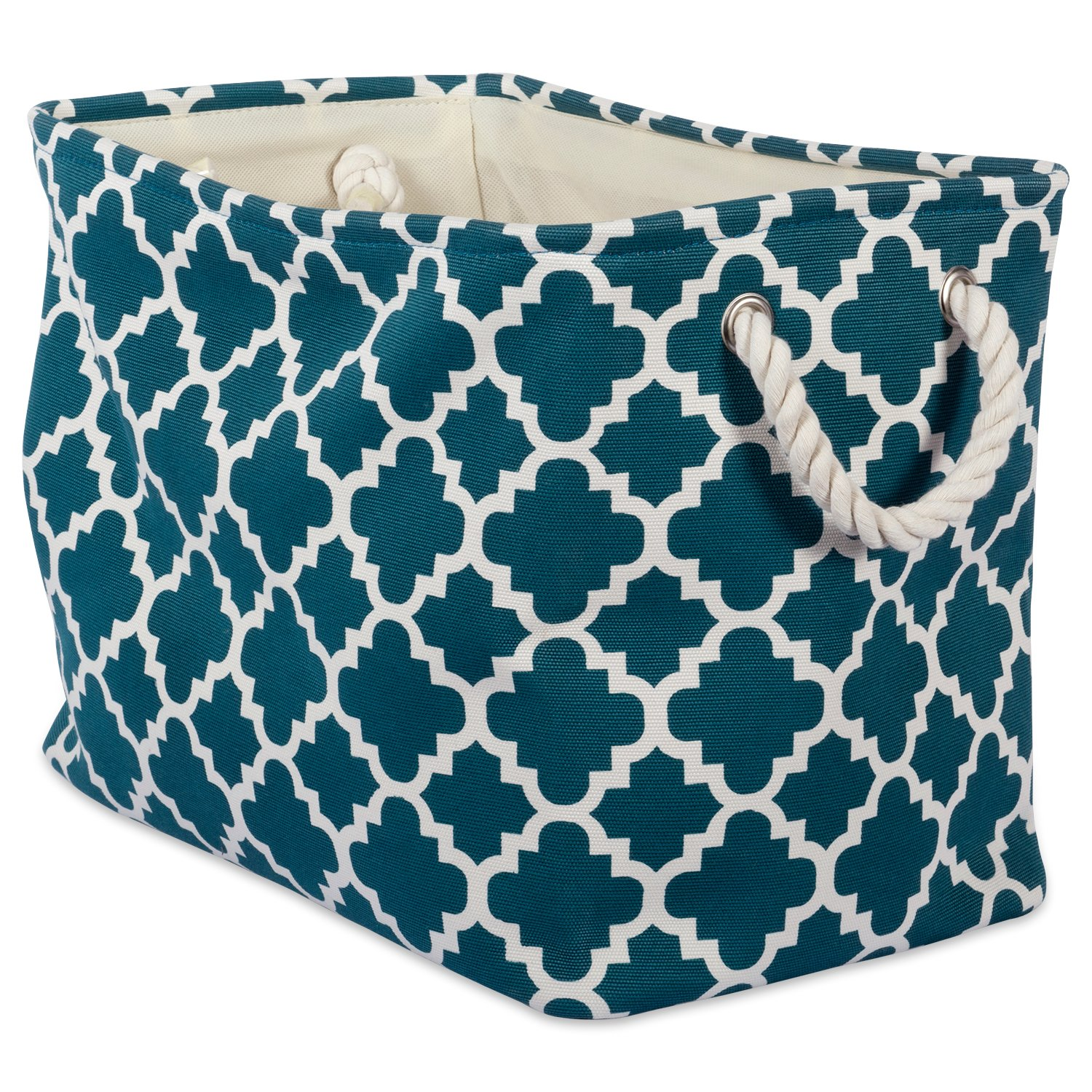"DII Collapsible Polyester Storage Basket or Bin with Durable Cotton Handles, Home Organizer Solution for Office, Bedroom, Closet, Toys, Laundry (Large – 18x12x15""), Teal Lattice"