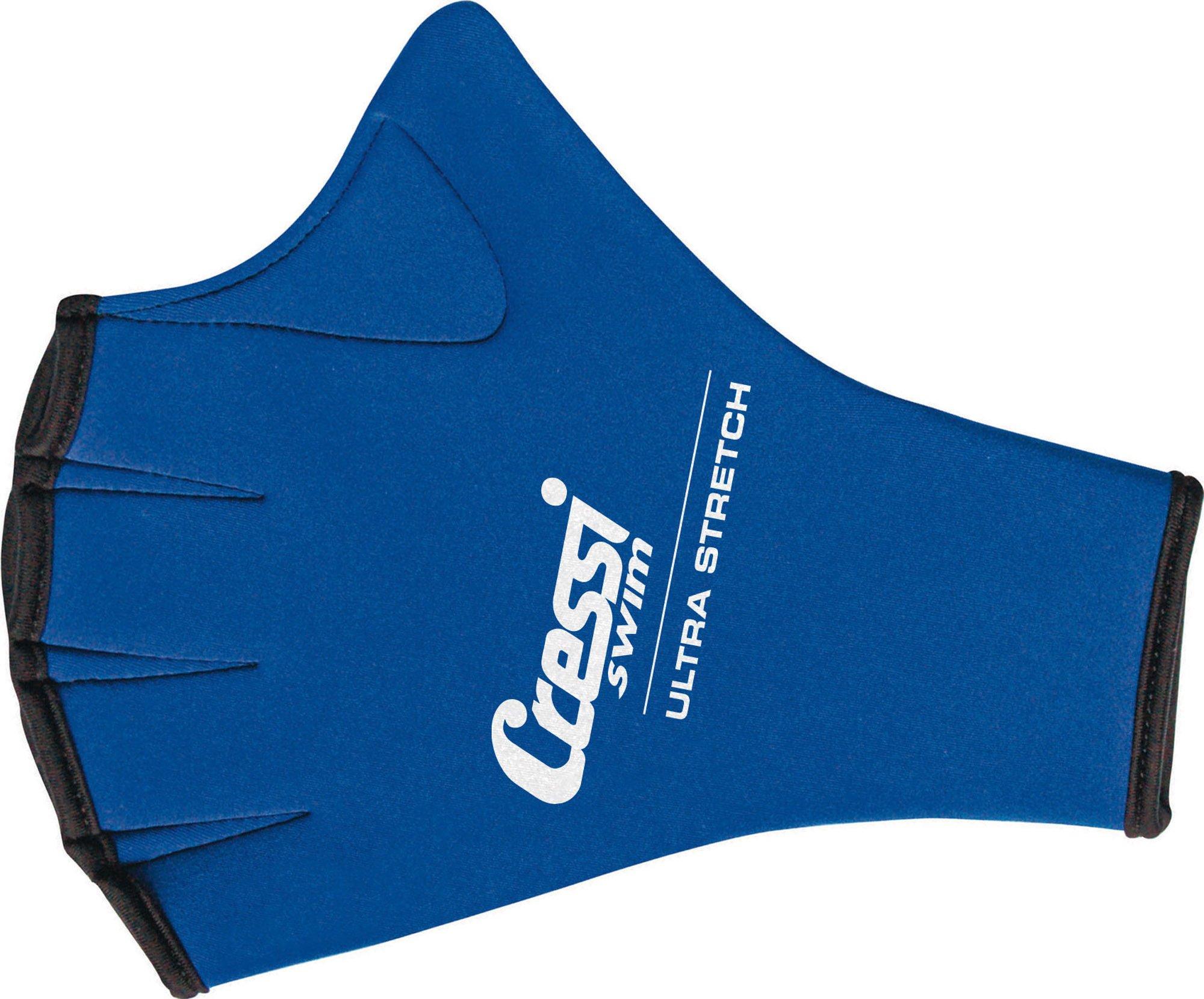 Cressi Slim Webbed Gloves for Swimming and Training - Blue, Medium