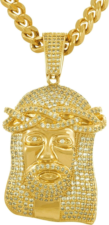 Men Fashion Necklace Gold Metal Chain Charm Pendant Jesus Christ Head Jewelry