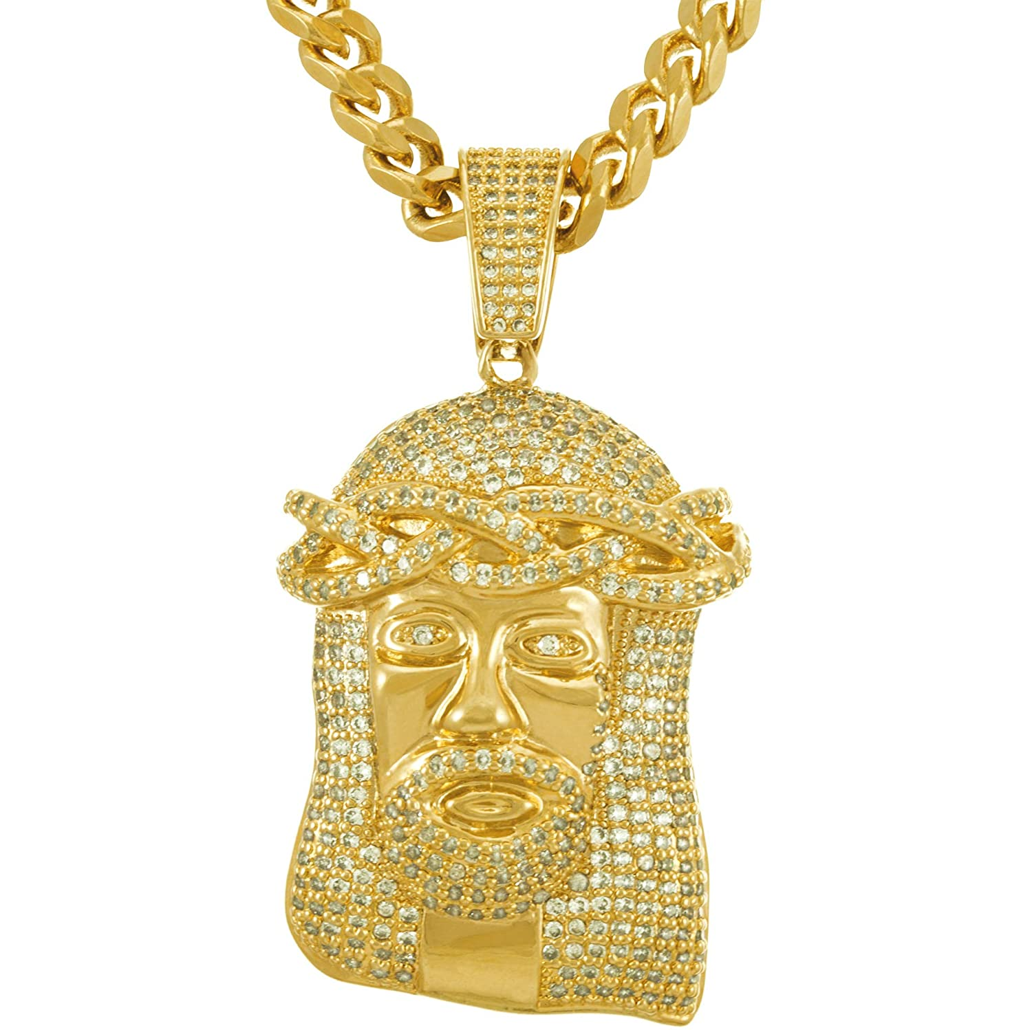 3f1748032 Lifetime Jewelry Jesus of Nazareth [ Face of Christ Pendant ] 20X More 24k  Real Gold Plating Than Other Fashion Necklaces - with or without CZ Stones  on 20