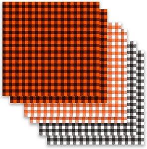 6 Sheets Halloween Buffalo Plaid Iron On Fabric, 12×12 inch Fall Orange Buffalo Check Adhesive Transfer Heat Transfer Fabric Sheets for DIY Craft (3 Colors Suitable for Fall Decor)