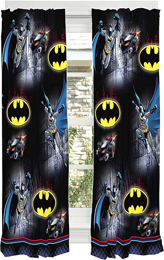 Amazon Com Franco Kids Window Curtain Panels Drapes Set 82 X 63 Batman Home Kitchen